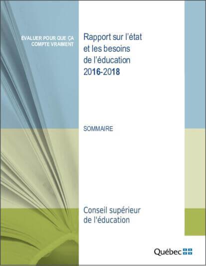 Sommaire Rapport sur l'état et les besoins de l'éducation 2016-2018